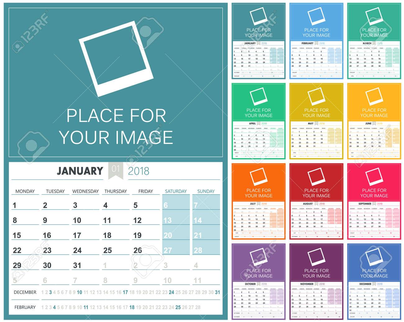 English Calendar Planning Calendar Template Set Of - Photo calendar template 2018