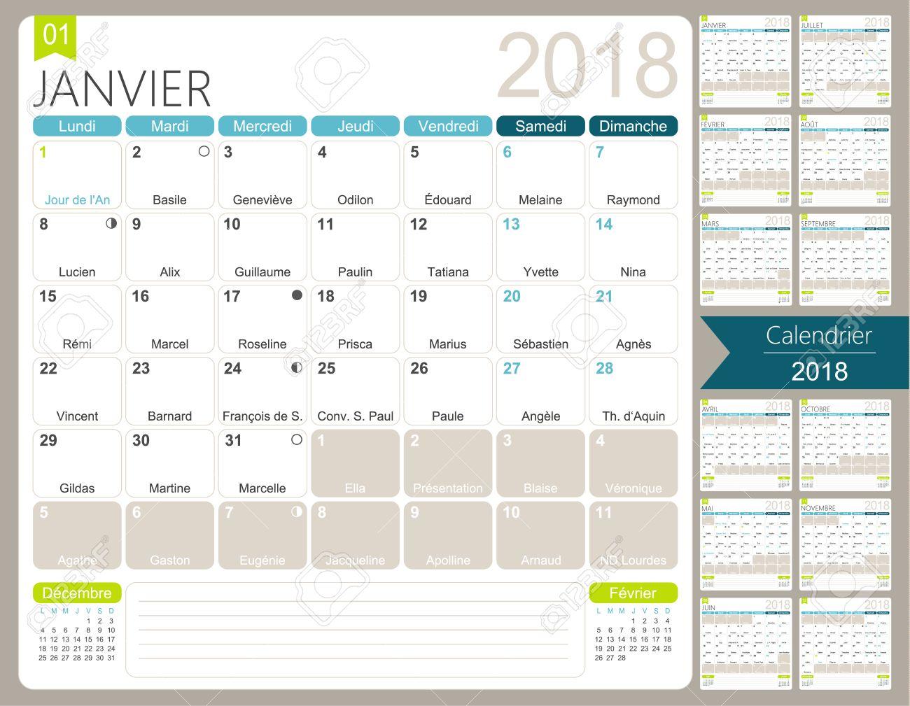 Calendario Diciembre 2018 Con Festivos.Francesfrances Calendario 2018 Set De 12 Meses Enero Diciembre Calendario De Calendario Mensual Printable Frances Incluyendo Dias De Nombre