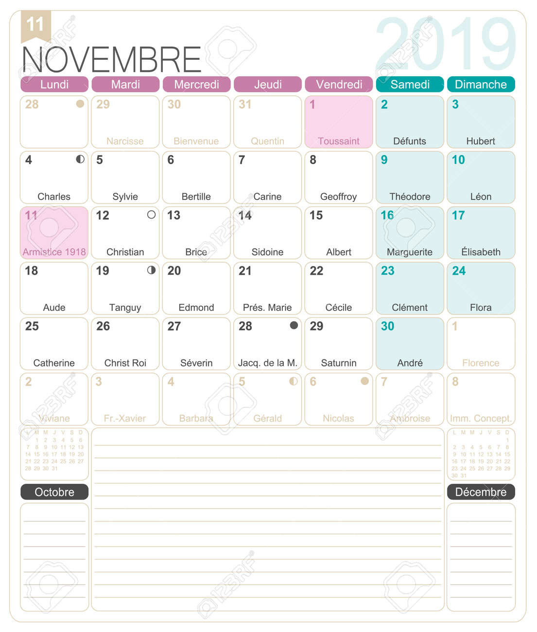 picture regarding Printable Nov. Calendar called French calendar 2019 / November 2019, French printable month to month..
