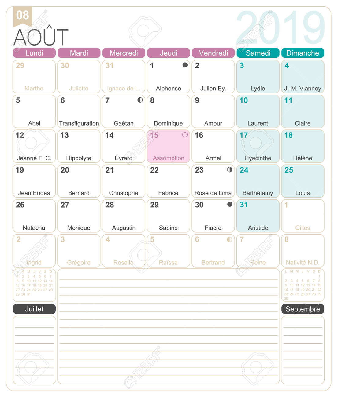 French calendar 2019 / August 2019, French printable monthly