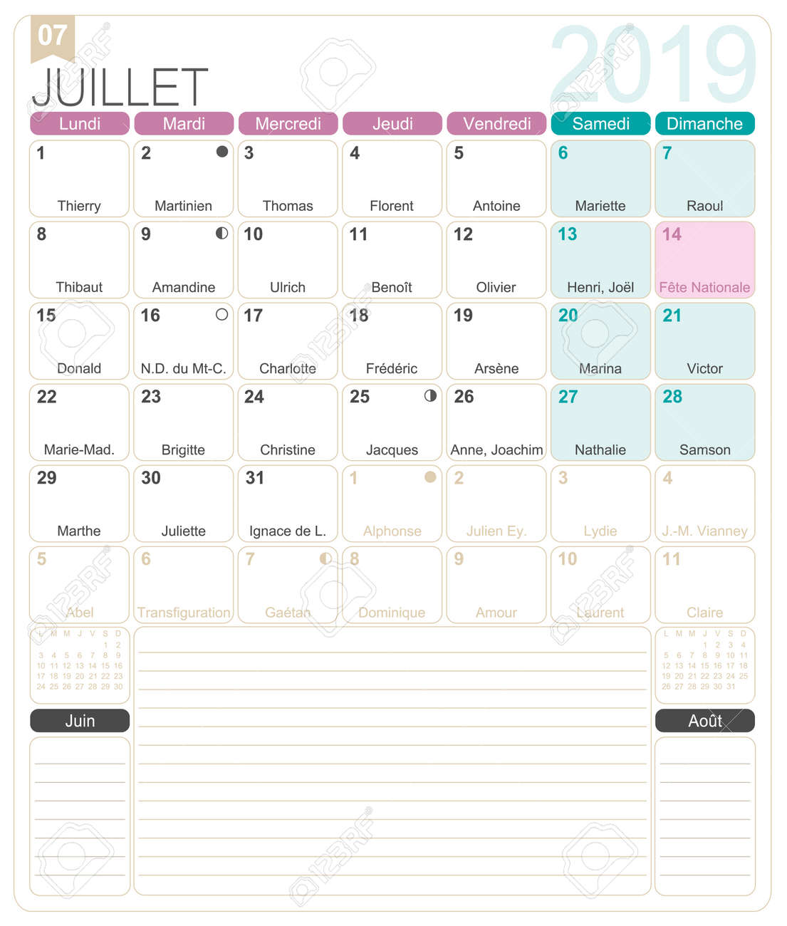 French calendar 2019 / July 2019, French printable monthly calendar