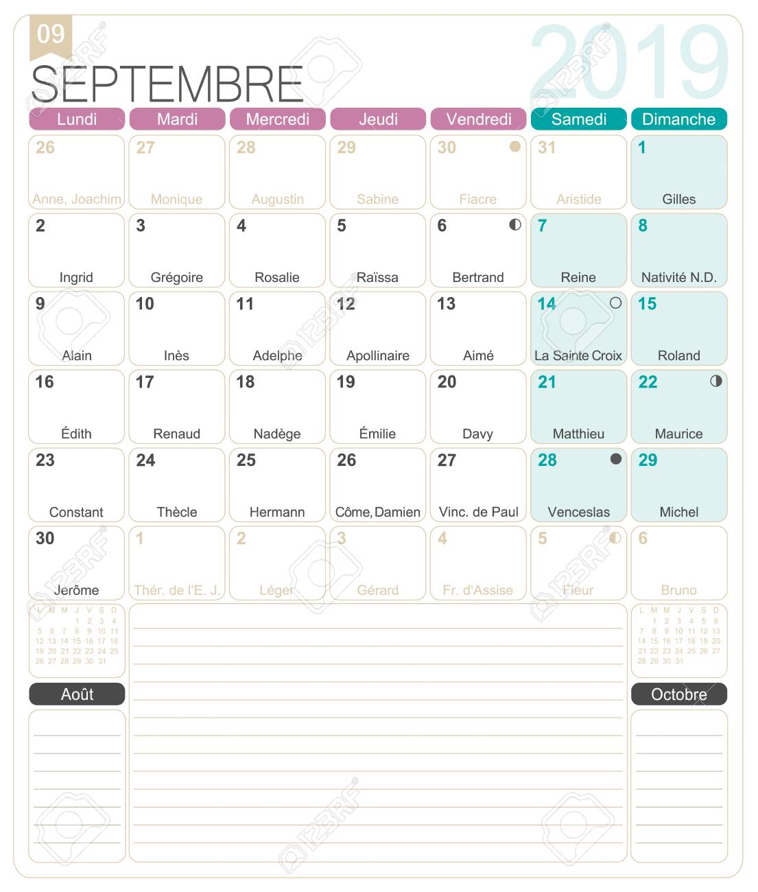 graphic regarding Printable September Calendar named French calendar 2019 / September 2019, French printable regular monthly..