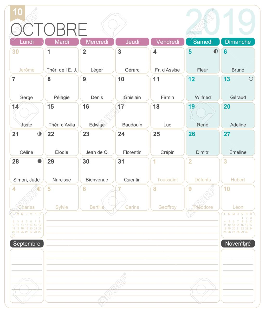 photo about Printable Monthly Calendar known as French calendar 2019 / Oct 2019, French printable regular..