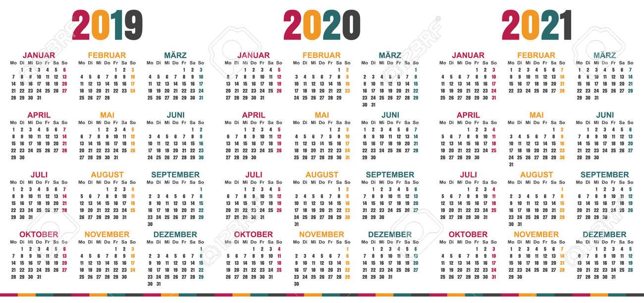 Printable Calendar 2019 2020.German Calendar 2019 2021 Week Starts On Monday Simple Calendar