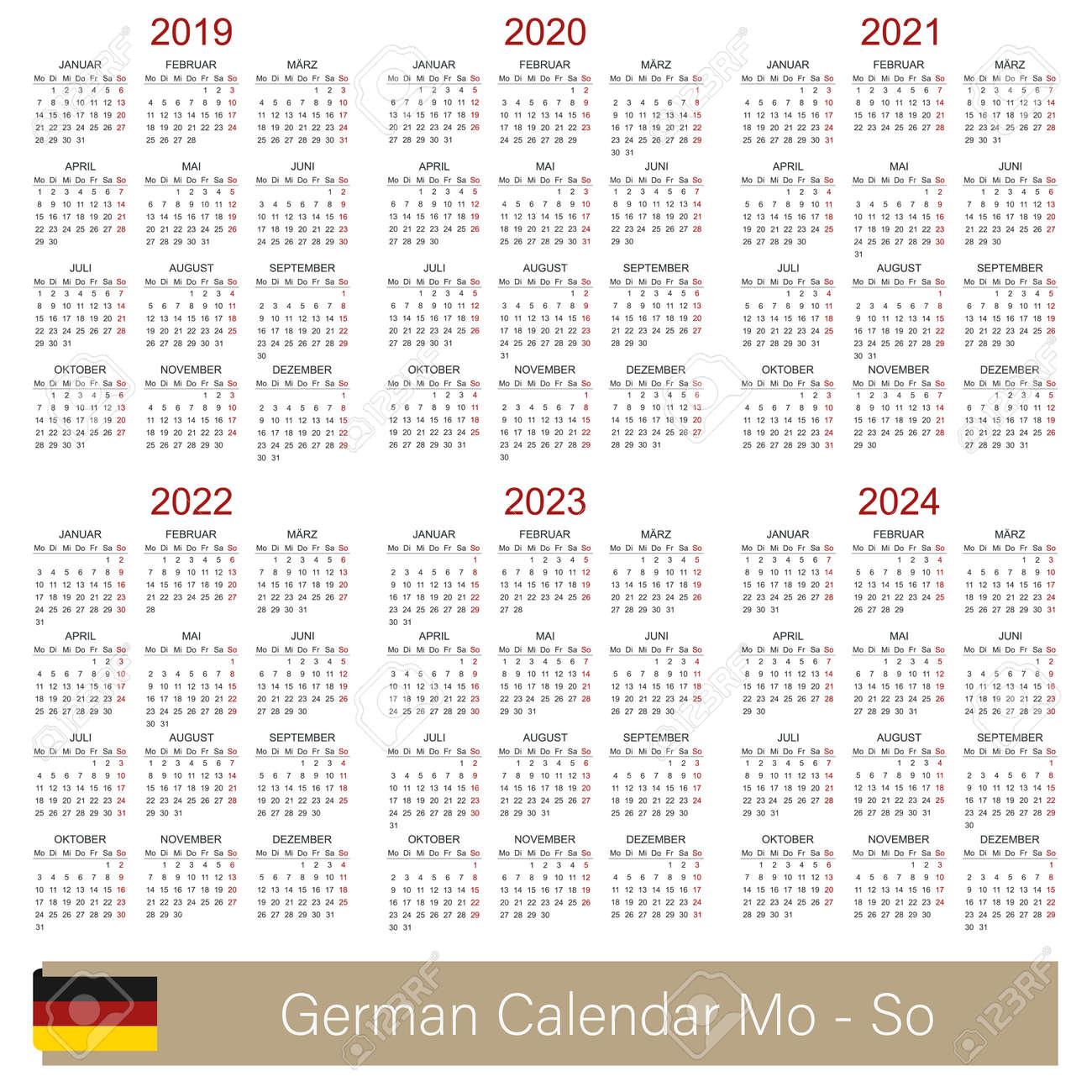 German calendar 2019 - 2024, week starts on Monday, simple calendar