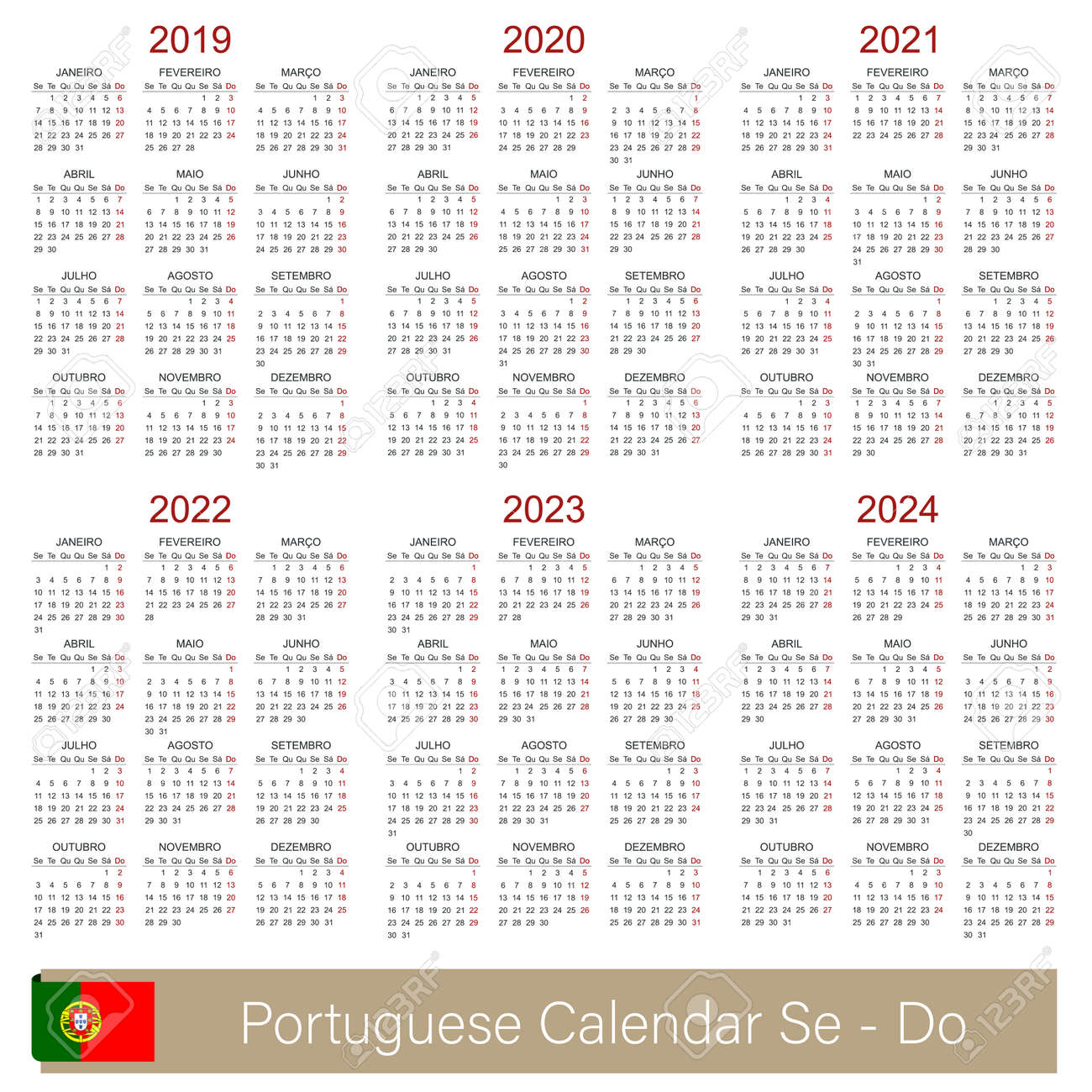 Ou 2020 Calendar Portuguese Calendar 2019   2024, Week Starts On Monday, Simple