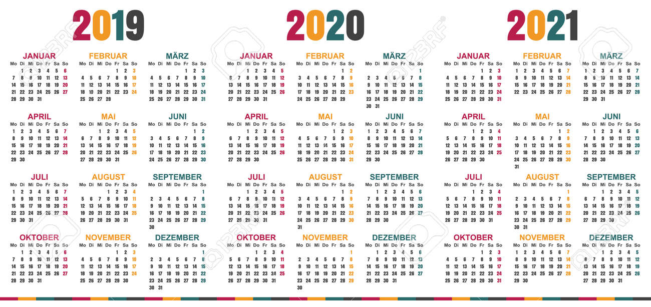 german calendar 2019 2021 week starts on monday simple calendar template for 2019