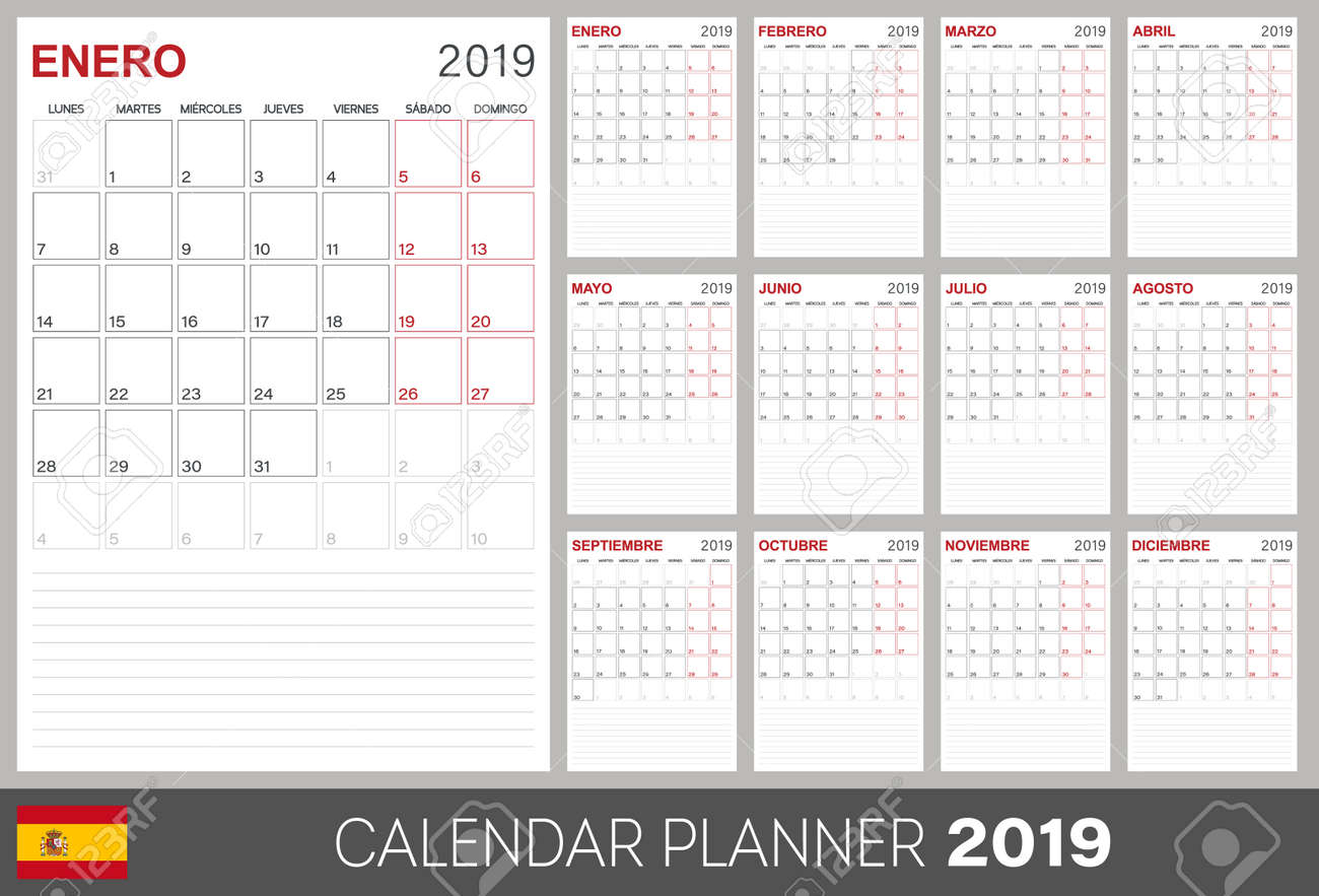 Spanish Calendar 2019 Calendar Calendar Template Size A4 Week