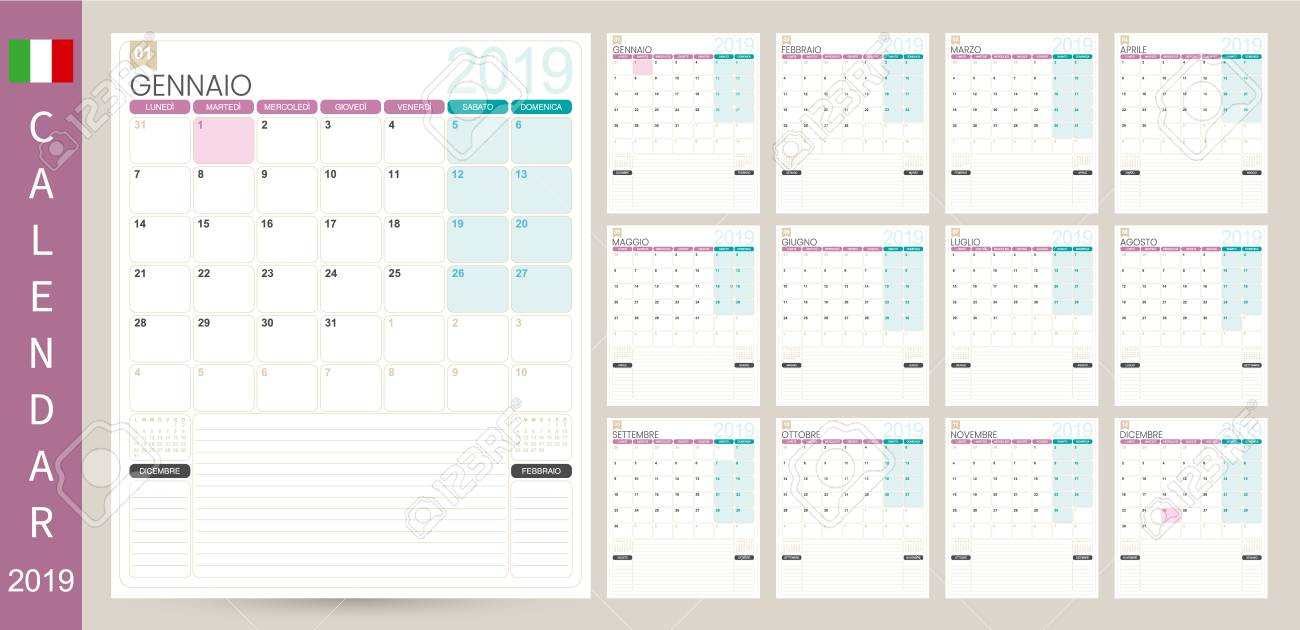 Italian Calendar 2019 Italian Calendar Planner 2019 Week Starts