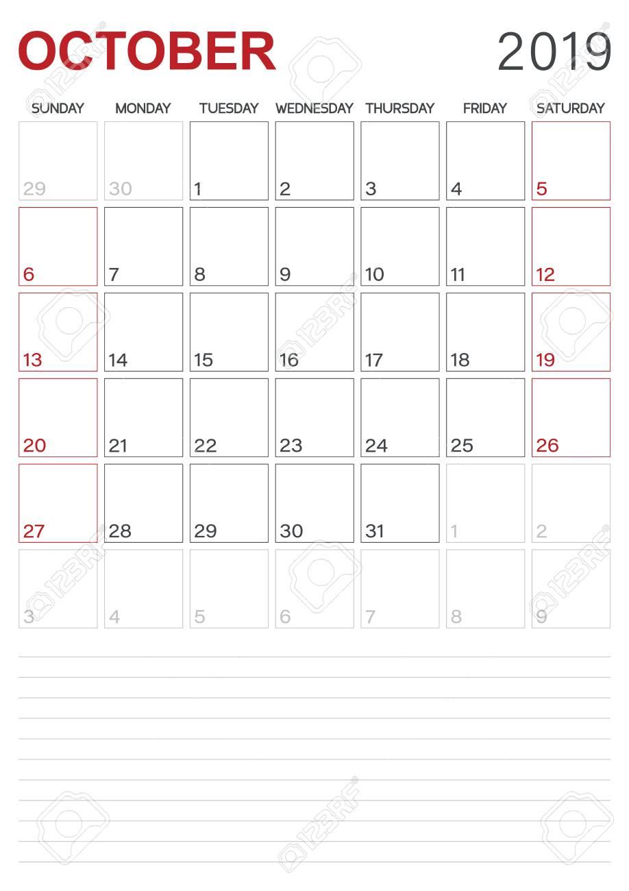 Monthly Planner Calendar October 2019 Week Starts On Sunday