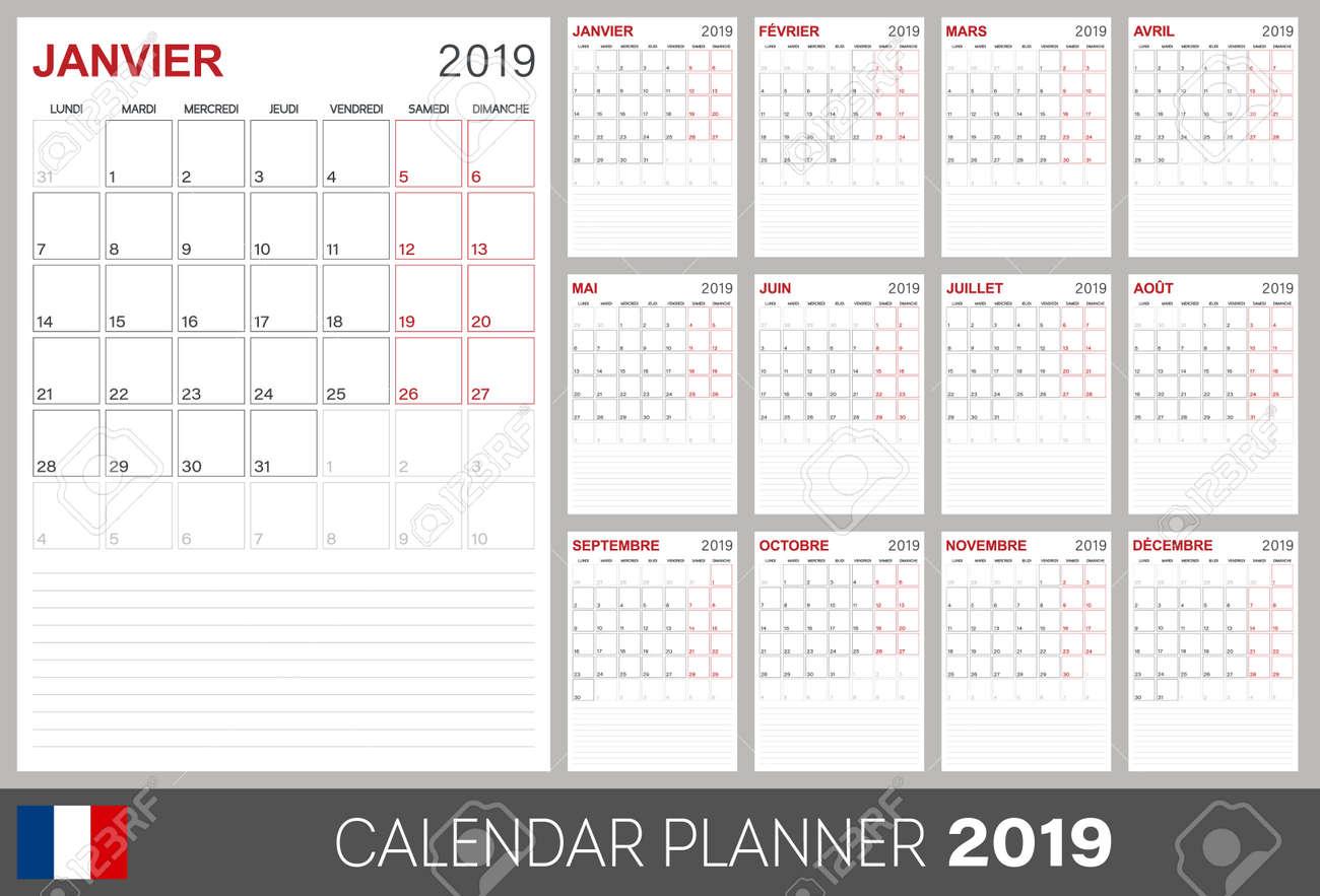 French Calendar 2019 French Calendar Planner 2019 Week Of Monday