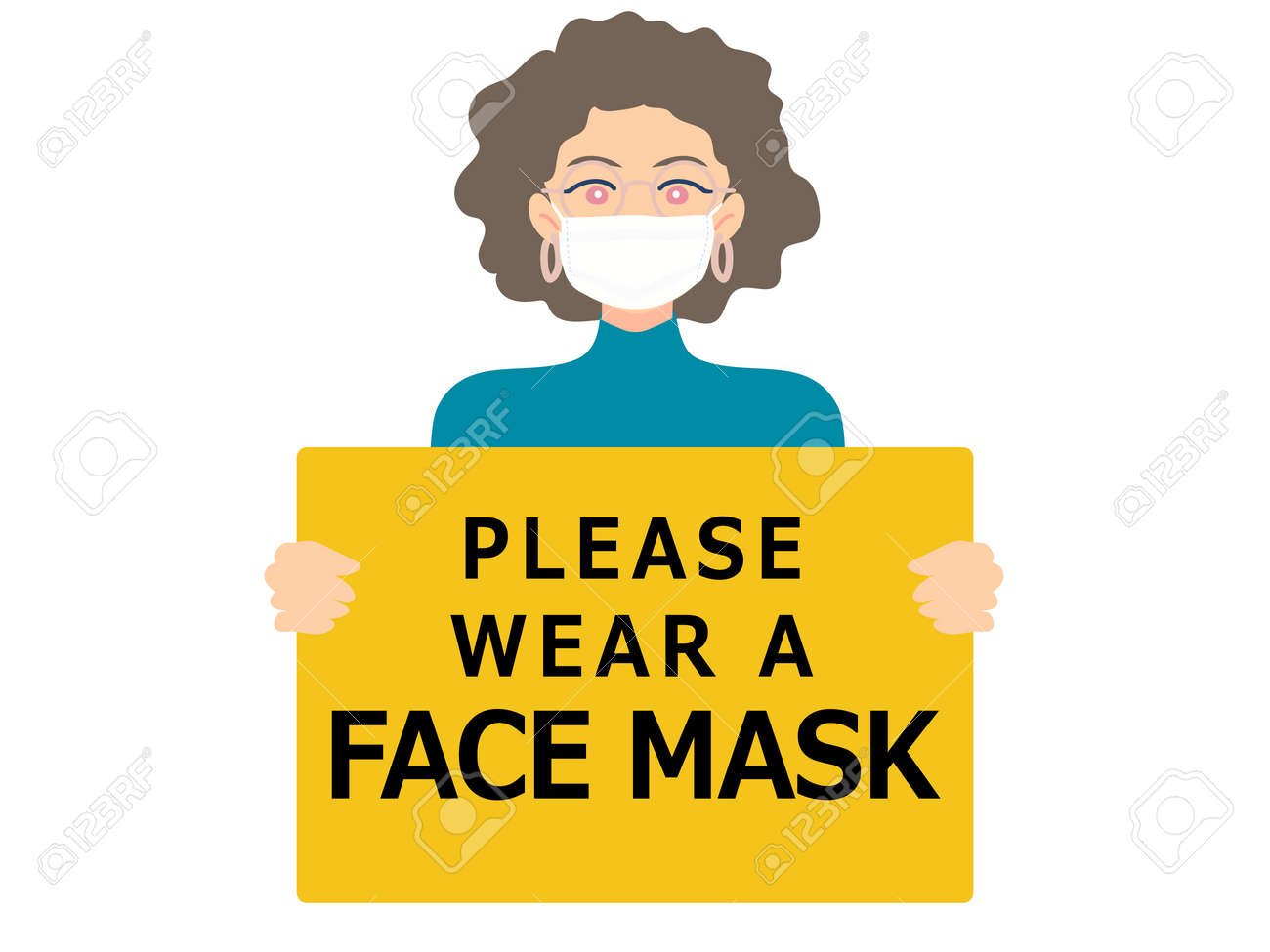 Wearing face mask required sign. Woman wear medical face mask. Yellow attention sign. - 150265174