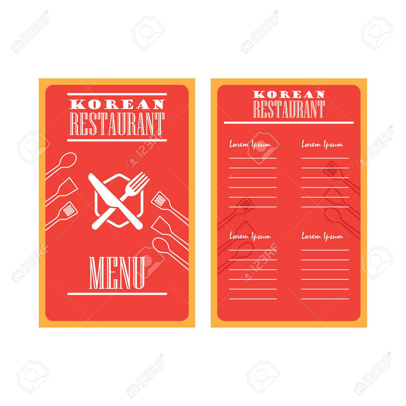 korean folding menu brochures vector illustration royalty free