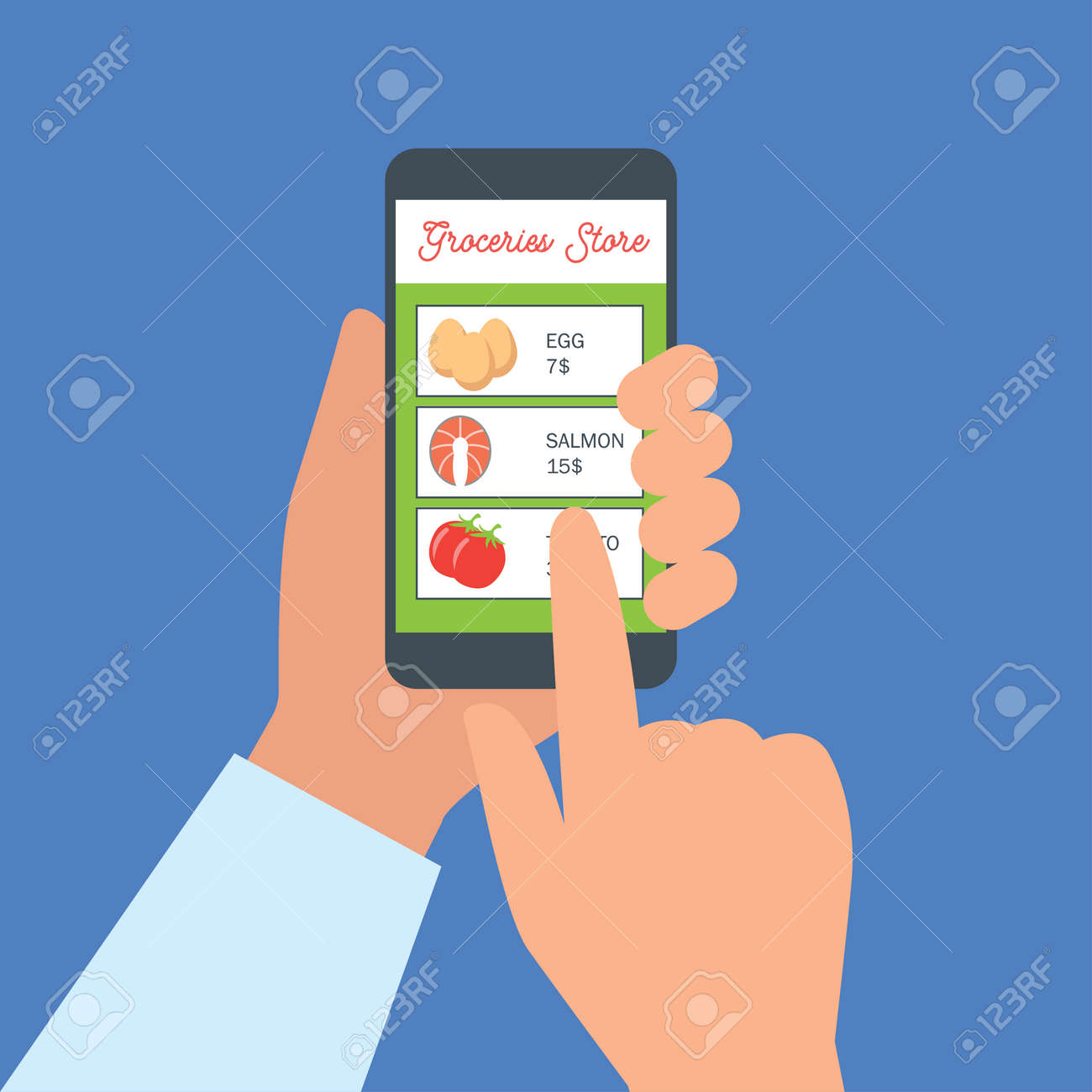 hand holding cellphone for online shopping groceries. vector illustration - 123160871