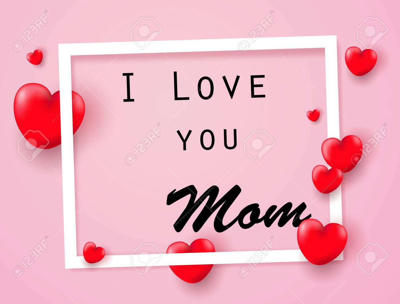 I Love You Mom With Heart Royalty Free Cliparts Vectors And Stock