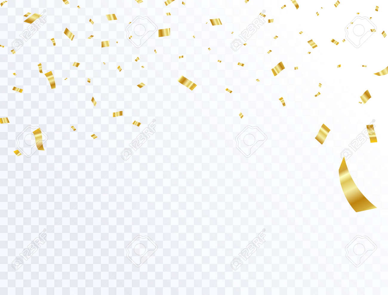 celebration background template with confetti and gold ribbons