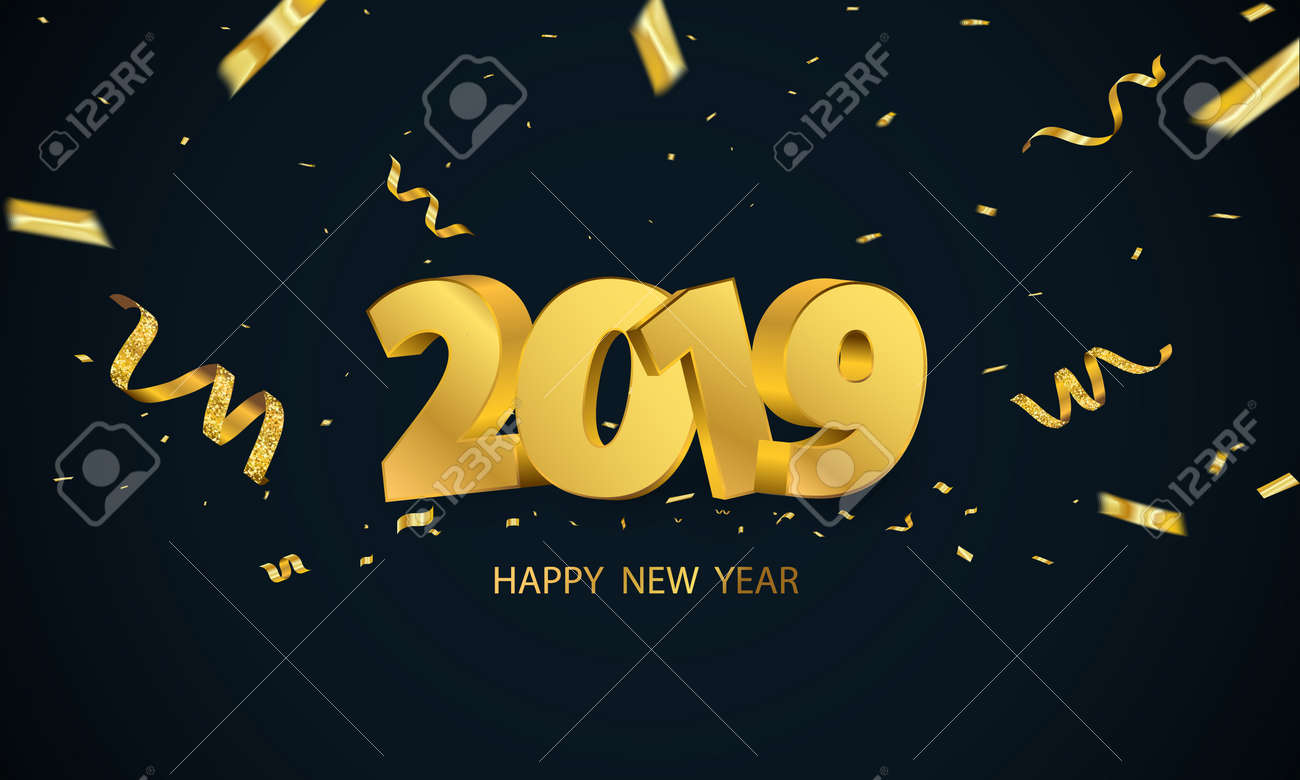 happy new year 2019 background greeting card design template gold confetti celebrate brochure or