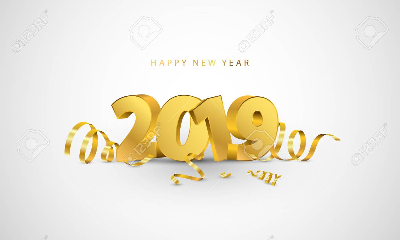 Happy New Year 2019 Background Greeting Card Design Template Royalty Free Cliparts Vectors And Stock Illustration Image 108128528