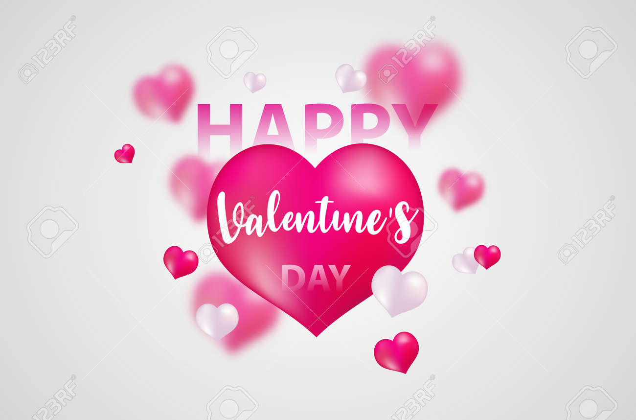 Valentine's day, banner template. red heart with lettering on background. tags poster design Vector brochure. - 126444051