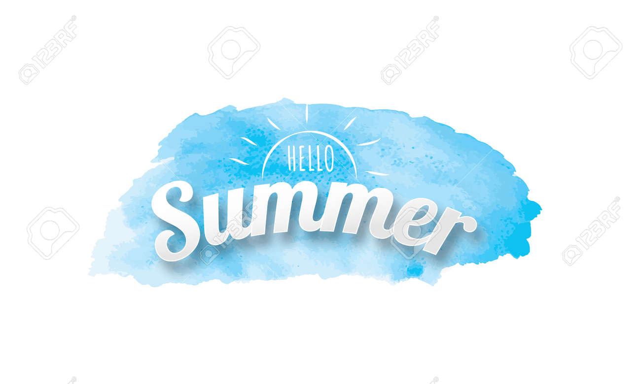 Hello Summer poster, Blue watercolor hand drawn isolated background - 145906434
