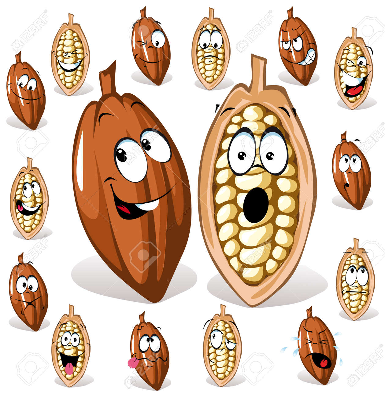 cocoa bean with many expressions Stock Vector - 10866476
