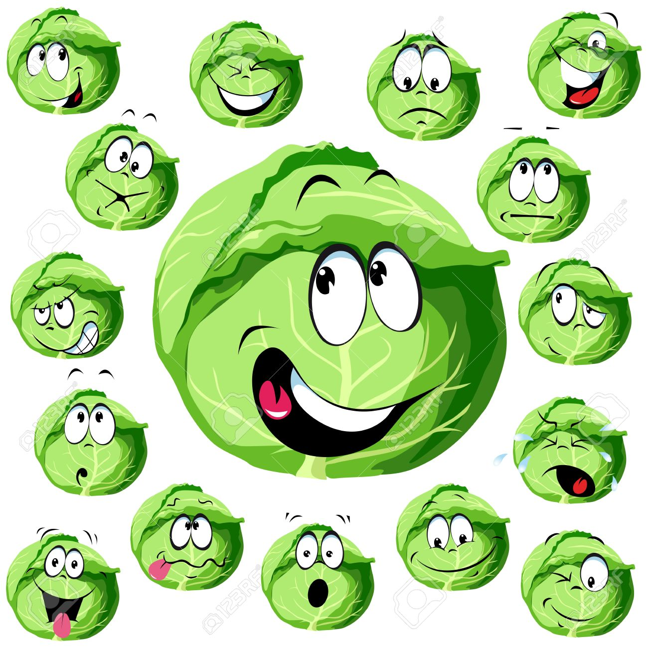 cabbage cartoon with many expressions Stock Vector - 13847857