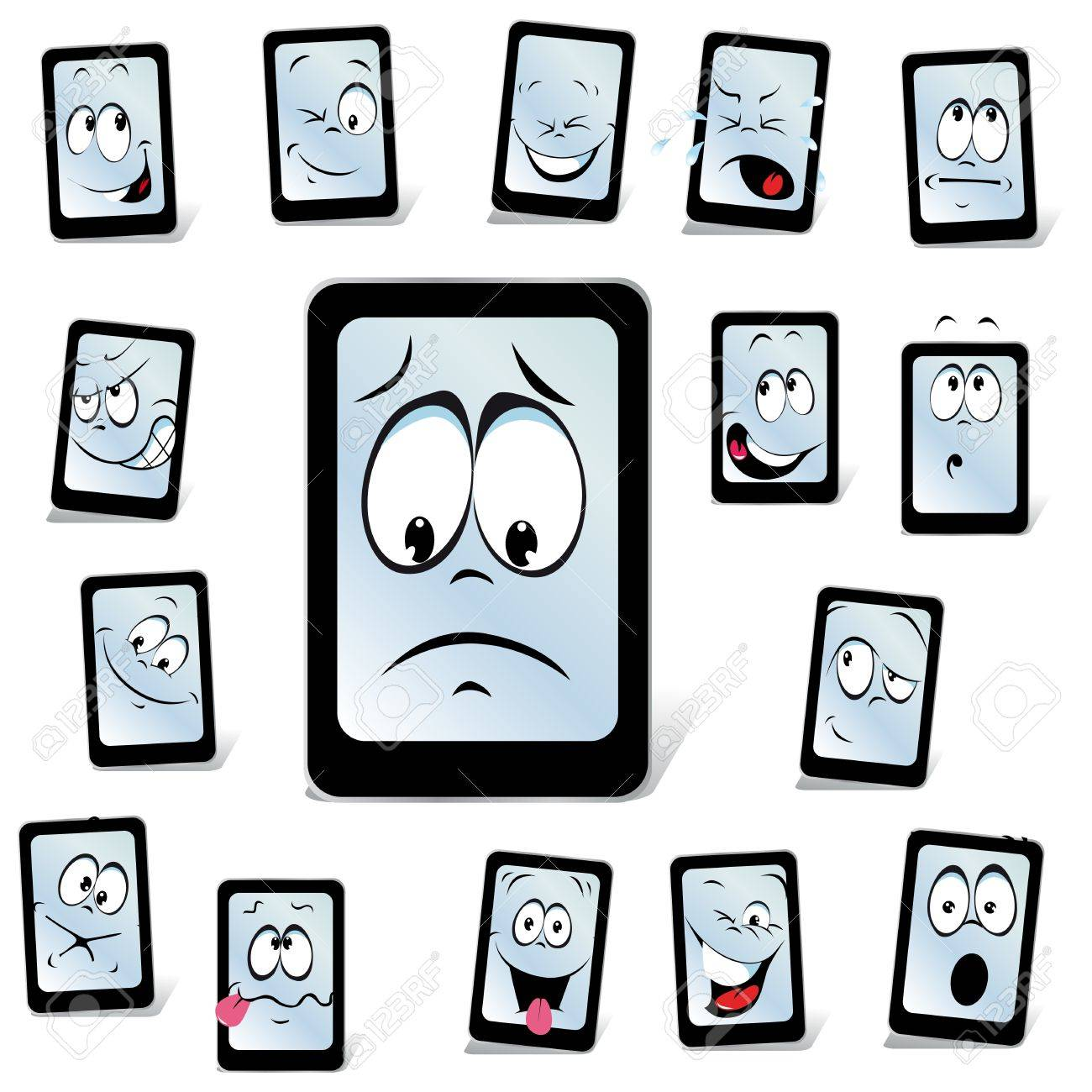 smart phone with many expressions Stock Vector - 14092879