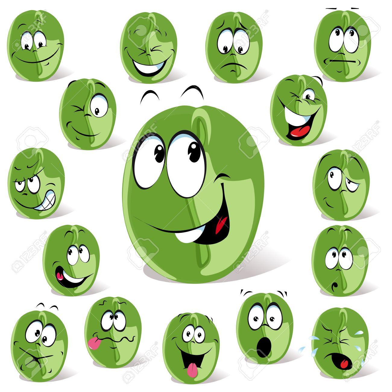 green coffee bean cartoon Stock Vector - 14872798