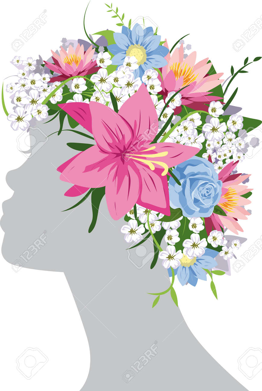 Woman with flowers Stock Vector - 14951842
