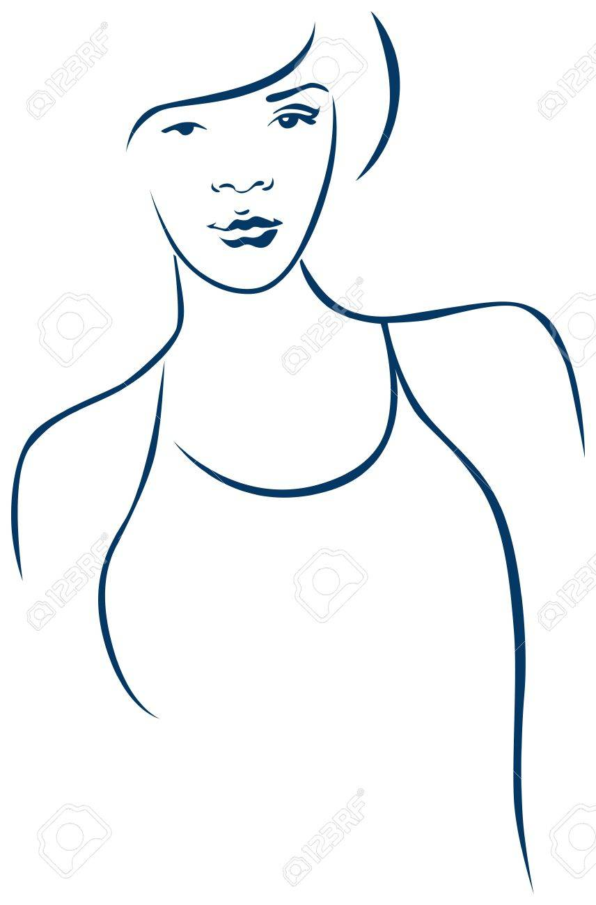 portrait of young sports woman in contour Stock Vector - 15017157