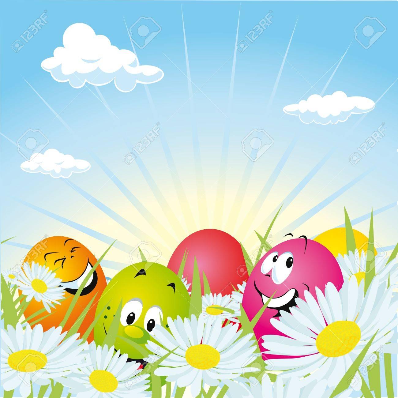 easter eggs hidden in daisy field royalty free cliparts vectors