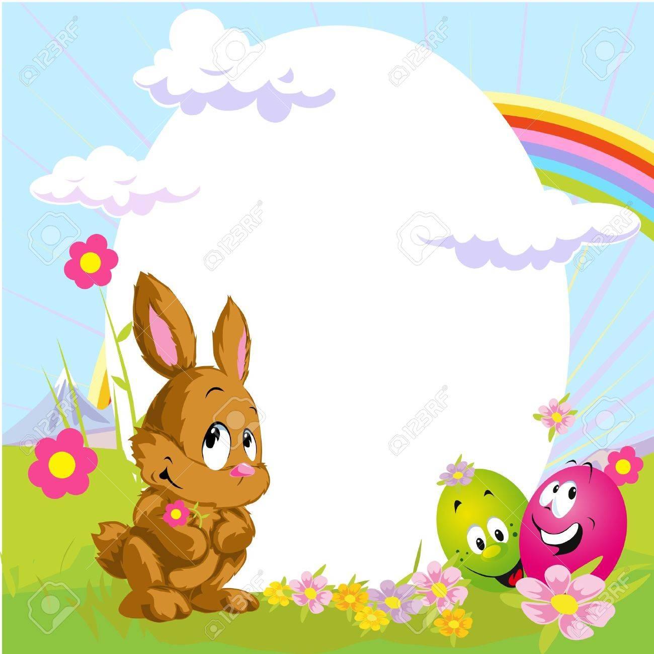 Ostern Rahmen Mit Hase Und Glücklich Eiern Lizenzfrei Nutzbare ...