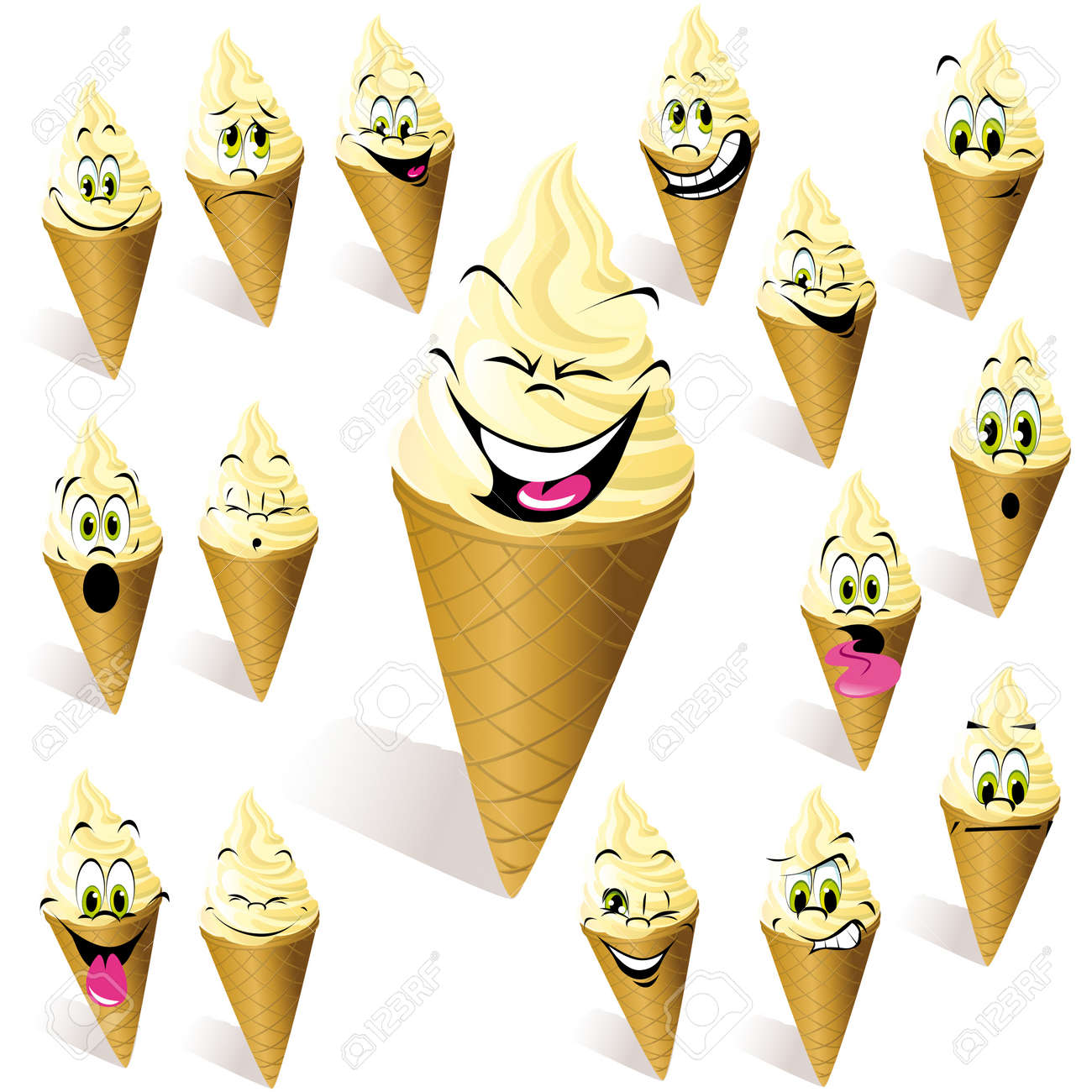 ice cream with many expressions Stock Vector - 15094544