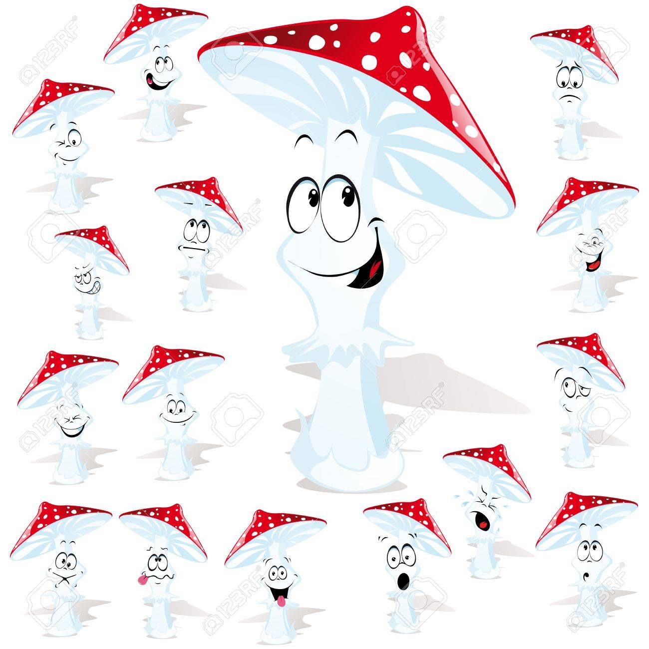 toadstool with many expressions Stock Vector - 15094564