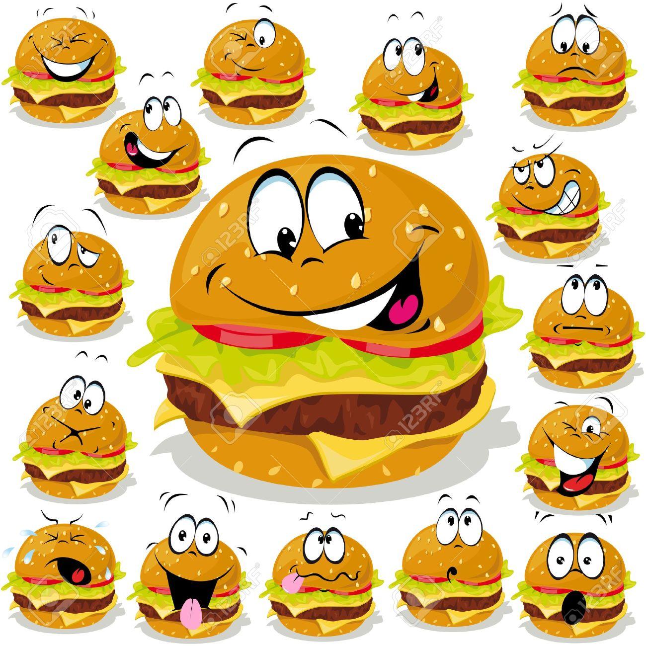 多くの表現とハンバーガー漫画イラストのイラスト素材ベクタ Image
