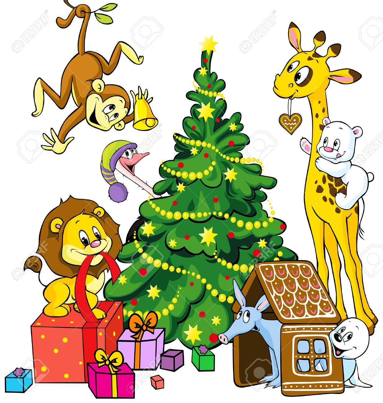 16260260-cute-animals-celebrate-christmas-isolated-on-white-background-Stock-Vector
