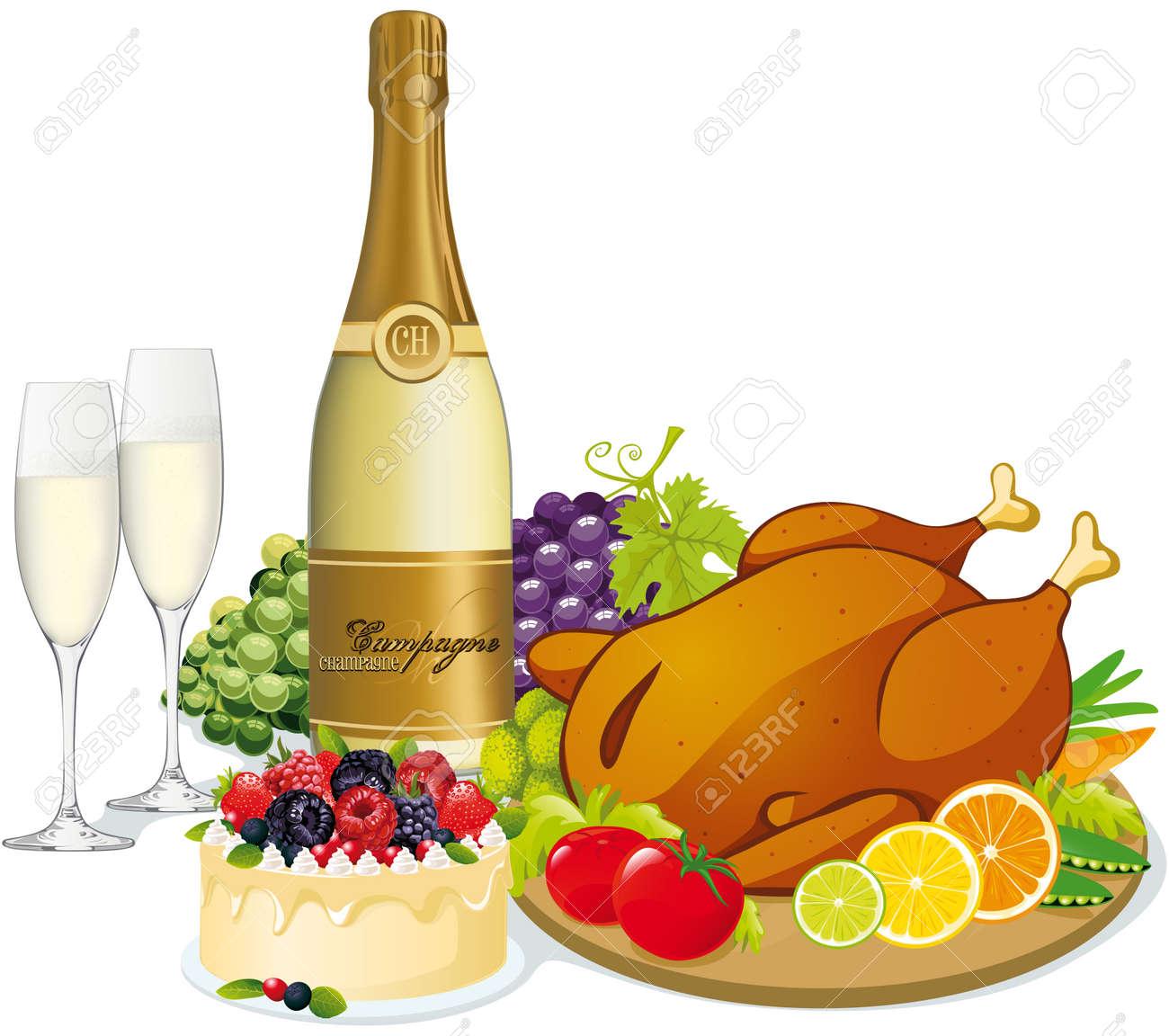 16514570-f-te-f-te-avec-champagne-de-la-volaille-swetts-fruits-et-l-gumes-Banque-d'images