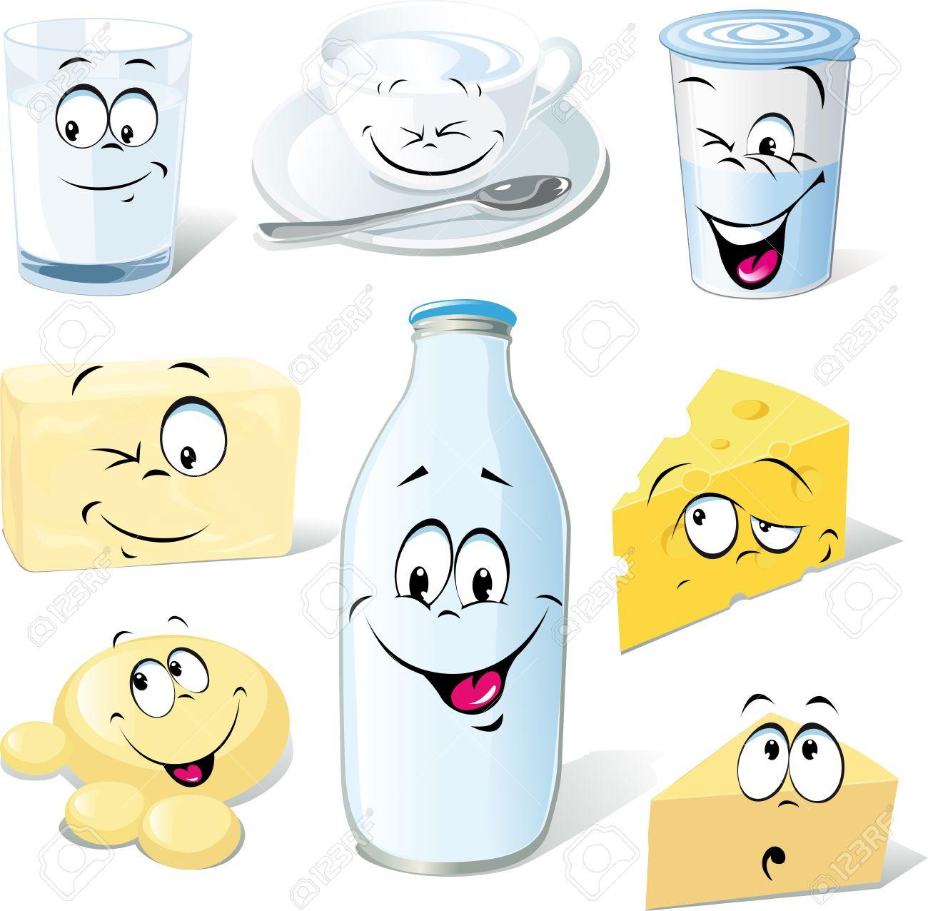 Dibujos Animados De Productos Lácteos Leche Queso Mantequilla Y