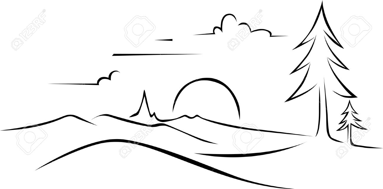 Abstract landscape drawing black outline