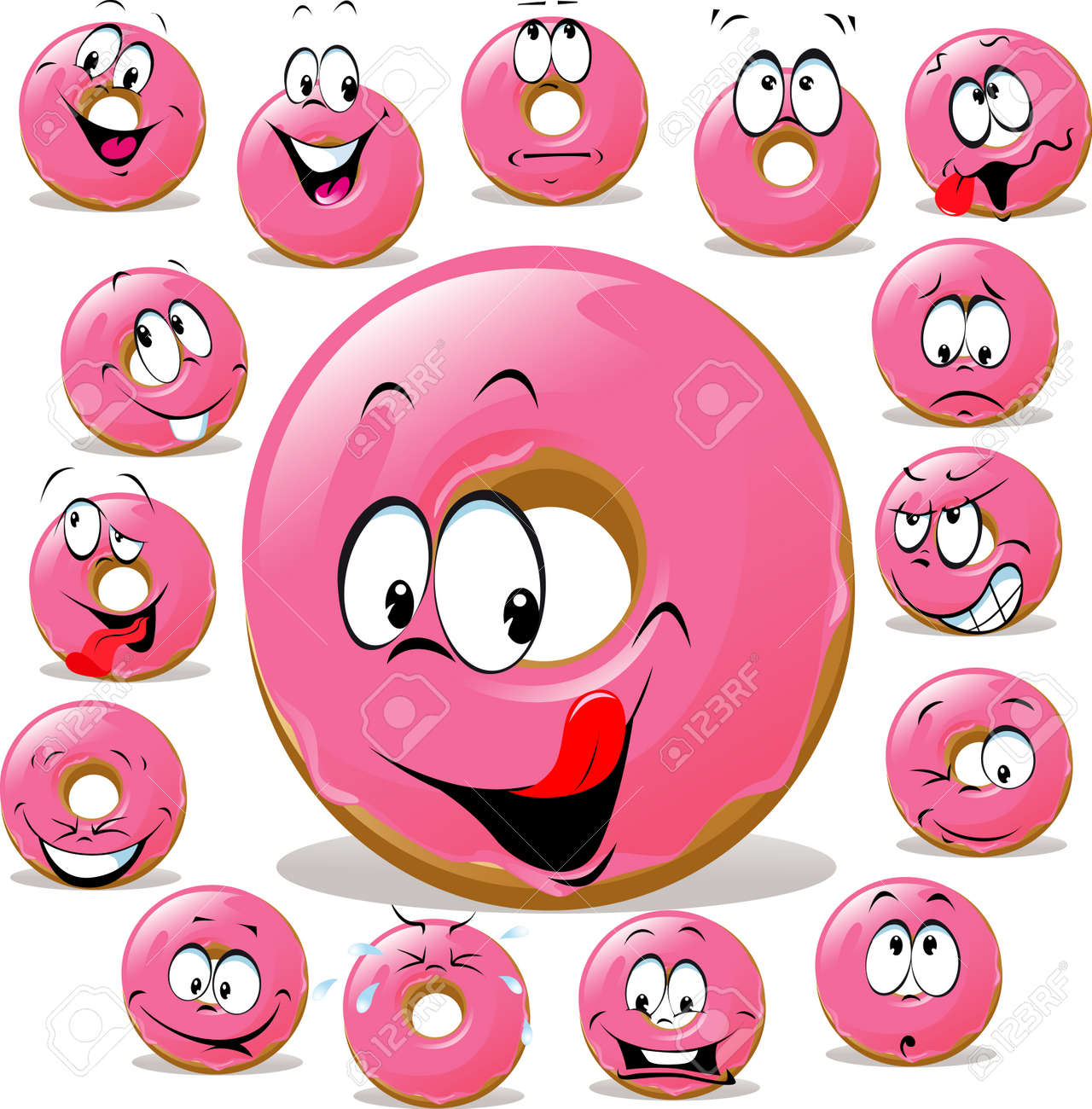 Donut cartoon with many facial expression isolated on white background Stock Vector - 23470901