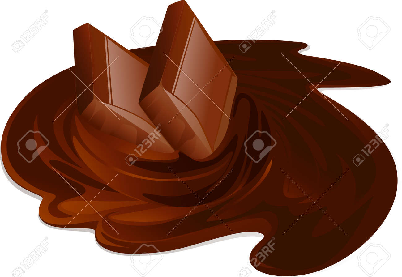 Melting chocolate bars. Chocolate cream and sticks on white background - vector illustration Stock Vector - 23857410