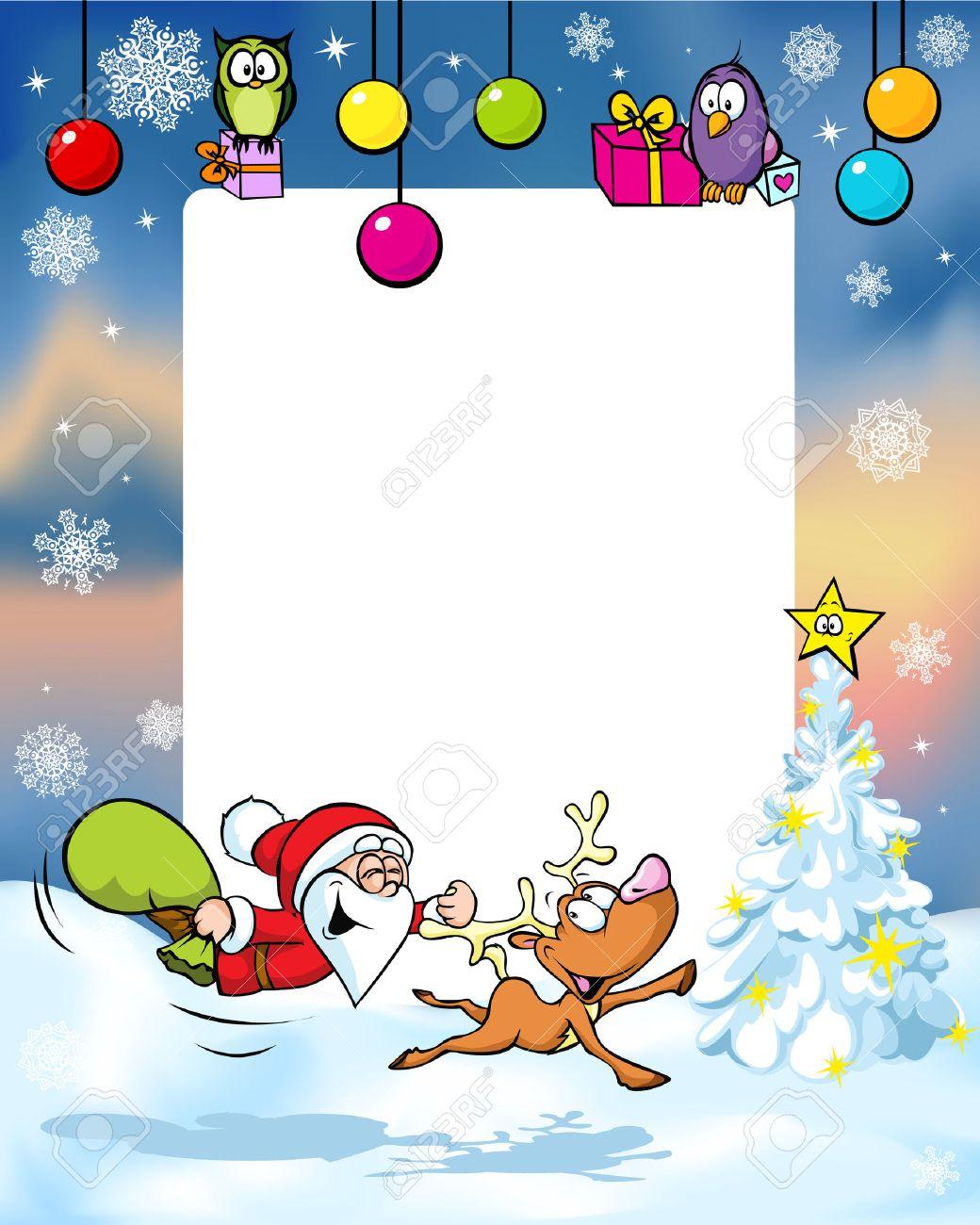 Souvent Cadre De Noël Avec Des Rennes Drôle Du Père Noël, Boule De Noël Et  FJ25