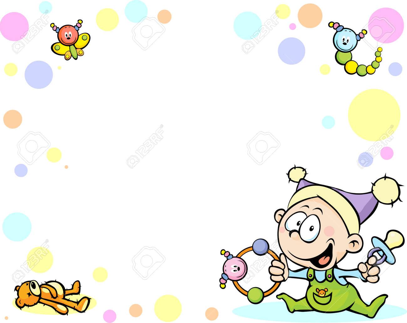 クールな赤ちゃんの背景に面白い赤ちゃん おもちゃ 抽象的なドットのイラスト素材 ベクタ Image