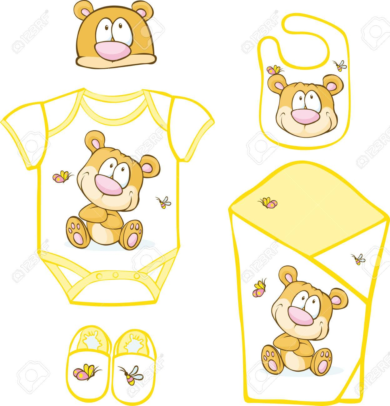 e12ff83c5aa5 Cute Baby Layette With Bear And Butterfly - Vector Illustration ...
