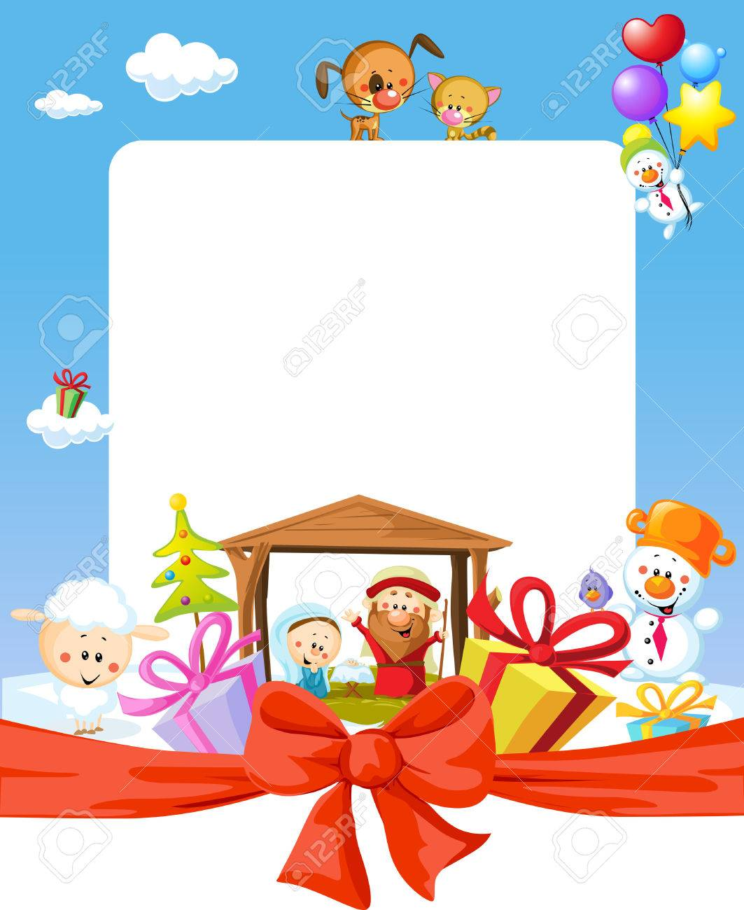 Dibujos De Navidad Con Jesus.Marco De La Navidad La Natividad Con Jesus Maria Y Jose Ilustracion De Dibujos Animados