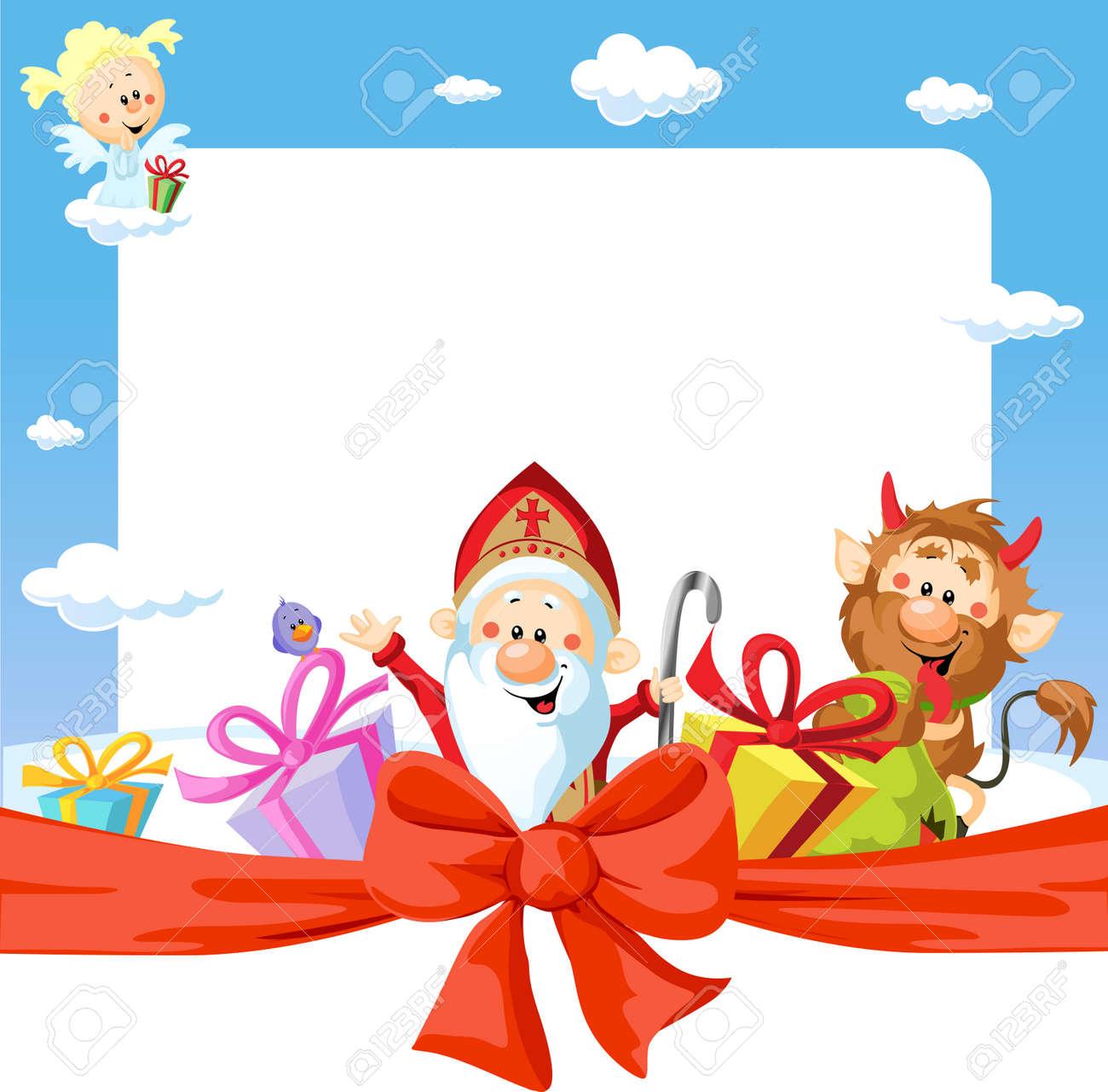 saint nicholas frame - funny vector background illustration - 34680259