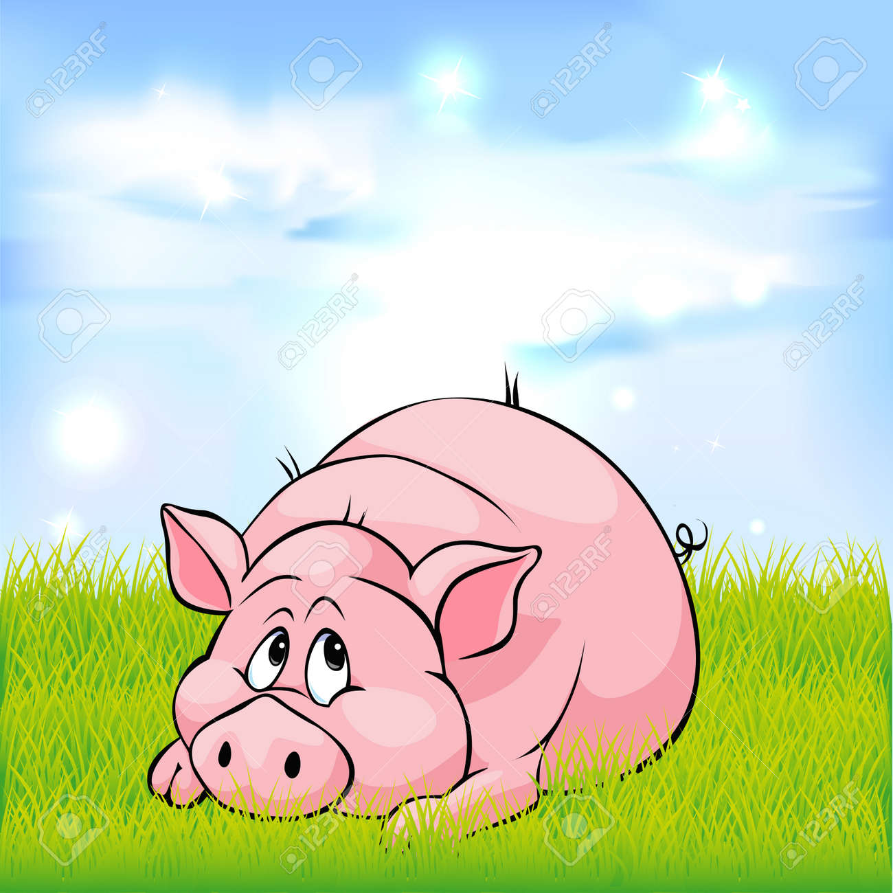 bonjour a tout le monde  36535347-dessin-anim-cochon-portant-sur-l-herbe-verte-illustration-vectorielle-Banque-d'images