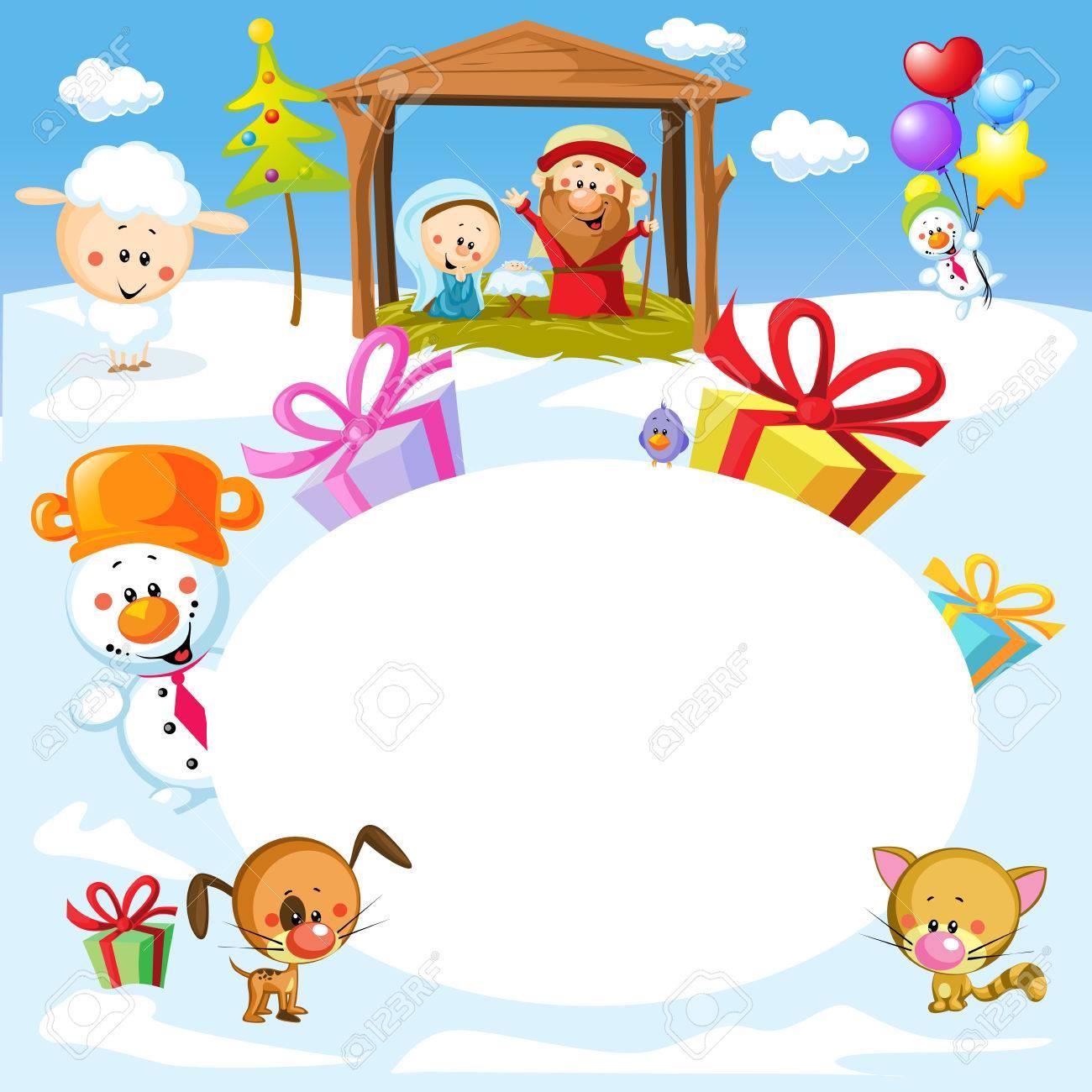 動物 - クリスマス オーバル フレーム イラストと共にベツレヘムの降誕