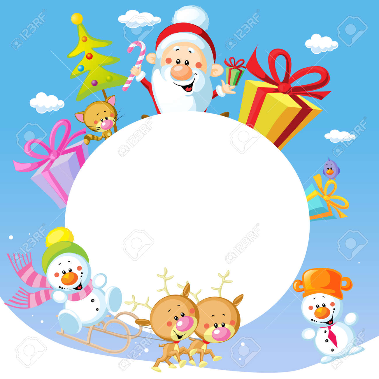 Merry Christmas Frame Design With Santa Claus Sleigh, Christmas Tree,  Snowman And Cute Animal
