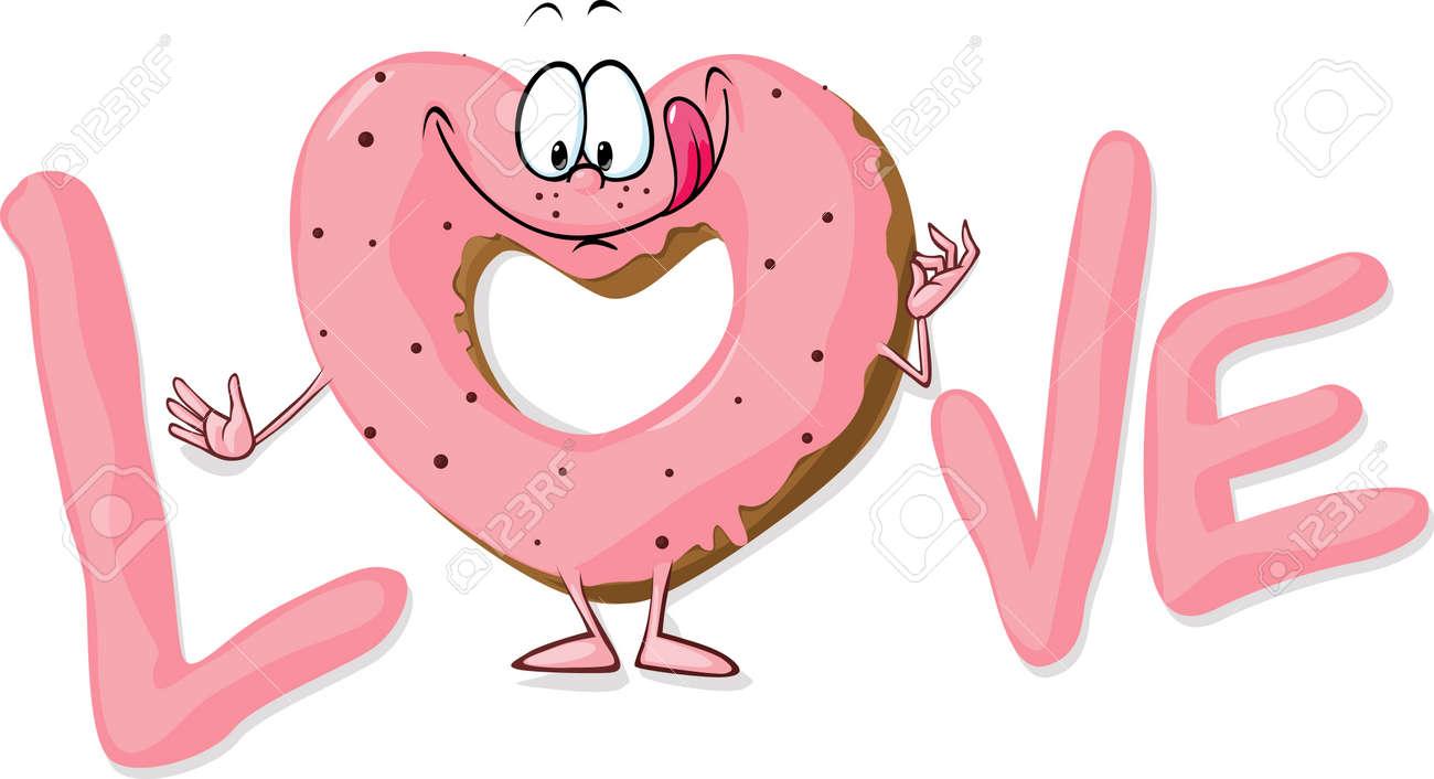 恋のベクトル イラストかわいい甘いドーナツ ハートのイラスト素材